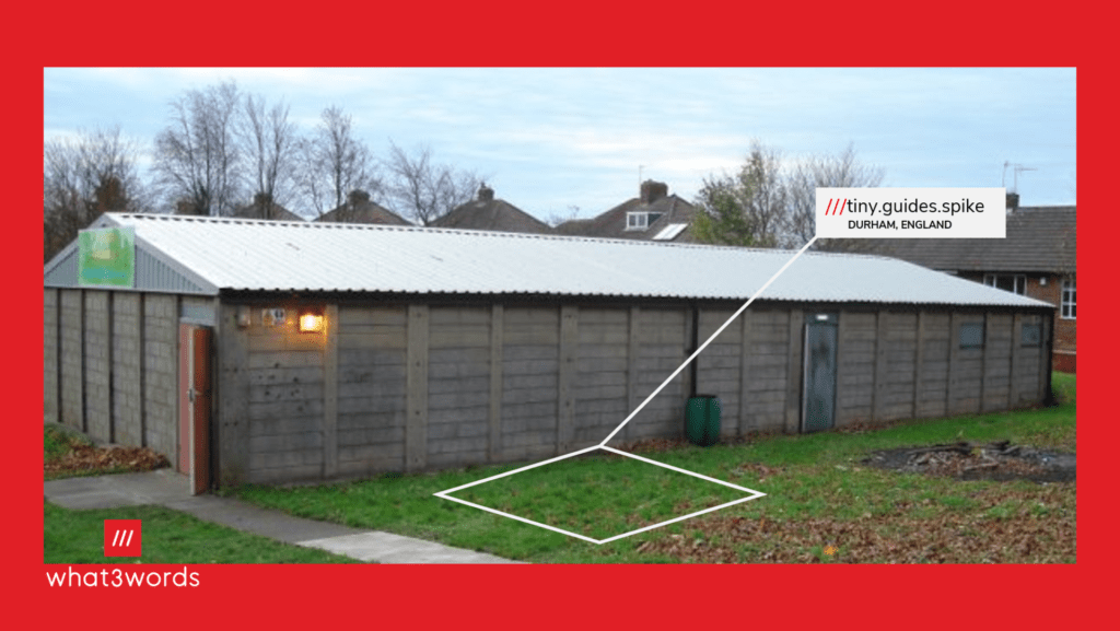 Image showing the W3W address of our scout hut.